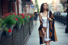 Stylish girl in city Stock Images