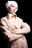 Stylish girl in coat. Fasion model Stock Photos