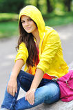 Stylish girl in colorful clothes outdoor Royalty Free Stock Photo