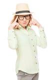 Stylish girl corrects glasses Stock Photos