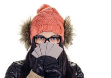 Stylish girl with credit card Royalty Free Stock Photography