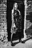 Black and white art monochrome photography. Stylish girl in a dress and pantyhose in a grid posing outside. Fashion Photo. Black and white art monochrome Stock Photography
