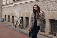 Stylish girl in fur coat Stock Photos