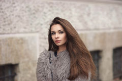 Stylish girl in fur coat Royalty Free Stock Images
