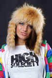 Stylish girl in fur hat Stock Photo