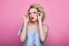 Stylish girl in glasses Stock Image