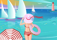 Stylish Girl in Hat Watching Yachts. Holding Inflatable Swim Ring Shape of Donut Stock Image