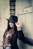 Stylish girl hipster in retro style Royalty Free Stock Image