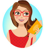 A stylish girl holding a book. A girl holding a book , blonde woman character illustration perfect for a blog header or a business avatar Royalty Free Stock Images