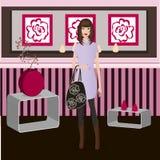 Stylish girl at home. Beautiful stylish girl at home -  illustration Royalty Free Stock Images