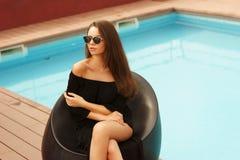 Stylish girl near pool Stock Photo