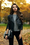 Stylish girl in park Royalty Free Stock Photography
