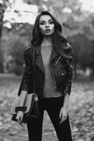Stylish girl in park Stock Images