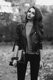Stylish girl in park Royalty Free Stock Photo