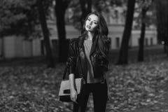 Stylish girl in park Royalty Free Stock Photos