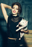 Stylish girl with pig royalty free stock photography