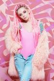 Pink fluffy coat stock images