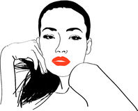 Stylish Girl. Portrait of girl with red lips Royalty Free Stock Image