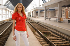 Stylish girl in red blouse outdoors Stock Photos