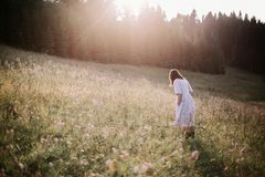 Stylish girl in rustic dress walking in wildflowers in sunny meadow in mountains. Boho woman relaxing in countryside flowers at royalty free stock images