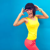 Stylish girl screaming Stock Image