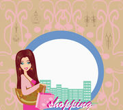 Stylish girl shopping , abstract card Royalty Free Stock Photos