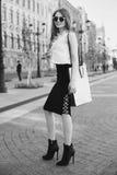 Stylish girl with shopping bag Stock Photos