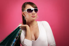 Stylish Girl with shopping bags Stock Photos