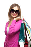 Stylish Girl with shopping bags Stock Images