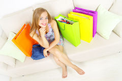 Stylish Girl with shopping bags Stock Photography