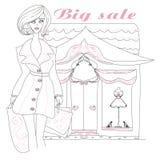 Stylish girl shopping , doodle illustration Stock Image