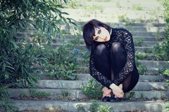 Free Stylish Girl Sits On The Stair. Royalty Free Stock Photos - 9962278