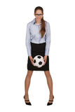 Stylish girl with a soccer ball Stock Photos