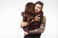 Free Stylish Girl Standing With Back, Man Holding Her Tight. Stock Photo - 90422020