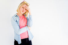 Stylish girl stressed Stock Images
