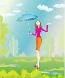 Stylish girl and summer rain Stock Photography