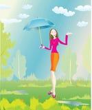 Stylish girl and summer rain. Gentile beautiful girl ,hide under umbrella from rain Stock Photography