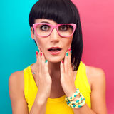 Stylish girl surprised Stock Photos