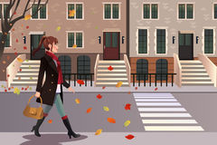 Stylish girl walking in New York city. A vector illustration of stylish girl walking in New York city Royalty Free Stock Images