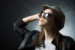 Stylish girl wearing cap Stock Photo