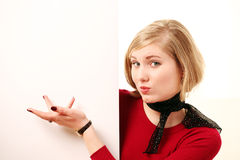 Stylish girl with your message Royalty Free Stock Image