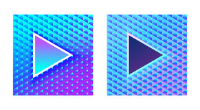 Stylish glamor play buttons on a brilliant blue pink background Stock Image