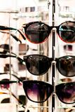 Stylish glasses for women in different frames royalty free stock photos