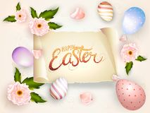 Stylish glittering text happy easter decorated with realistic flowers and eggs. vector illustration
