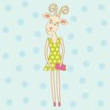 Stylish goat. Fancy stylish goat wearing flowered green dress Royalty Free Stock Photography