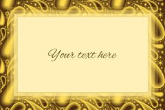 Stylish gold paisley background and a text box royalty free illustration