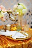Stylish gold table set Stock Photos
