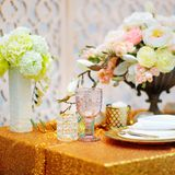 Stylish gold table set Stock Photography