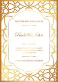 Stylish Gold and White Wedding Card. Royal Vintage Wedding Invitation template. Save the date card. Trendy design with geometric. Background. Tradition vector illustration