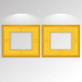 Stylish Golden Frameworks Isolated On Background Stock Photos